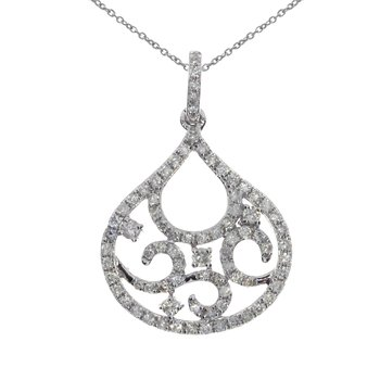 14K White Gold Fashion Diamond Pendant