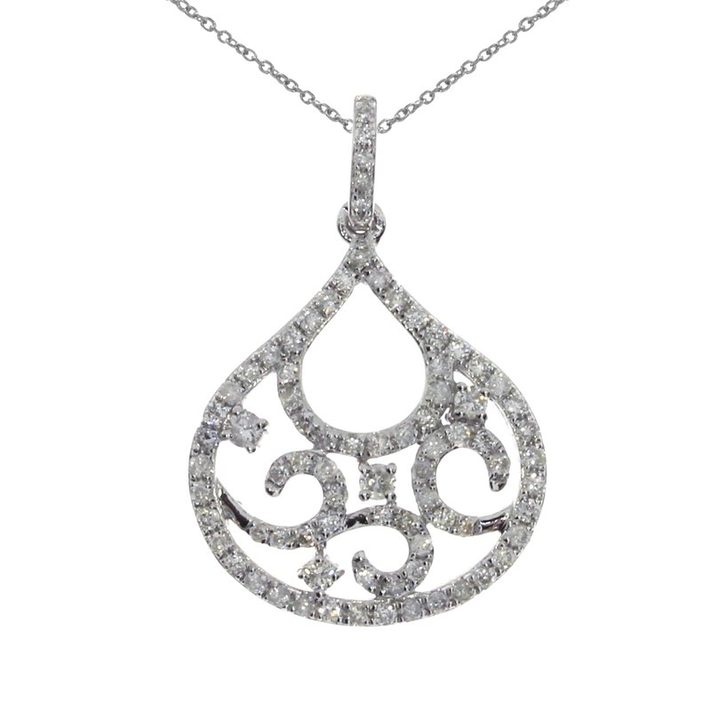 Color Merchants 14K White Gold Fashion Diamond Pendant