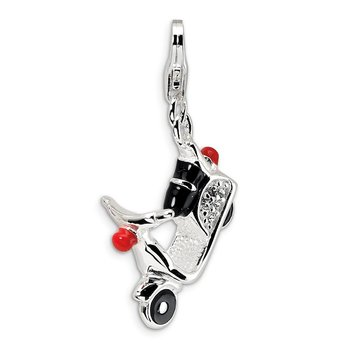 Sterling Silver 3-D Enameled Swarovski Element Moped w/Lobster Clasp Charm