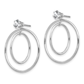 14k White Gold Double Hoop Earring Jackets