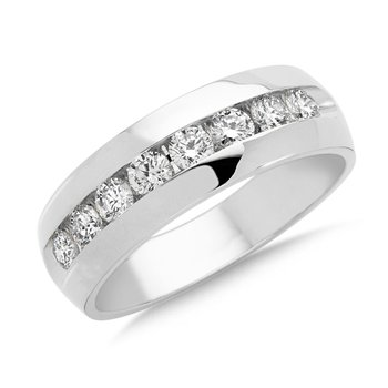 Channel set Diamond Men's 14k White Gold Band (1 ct. tw.)
