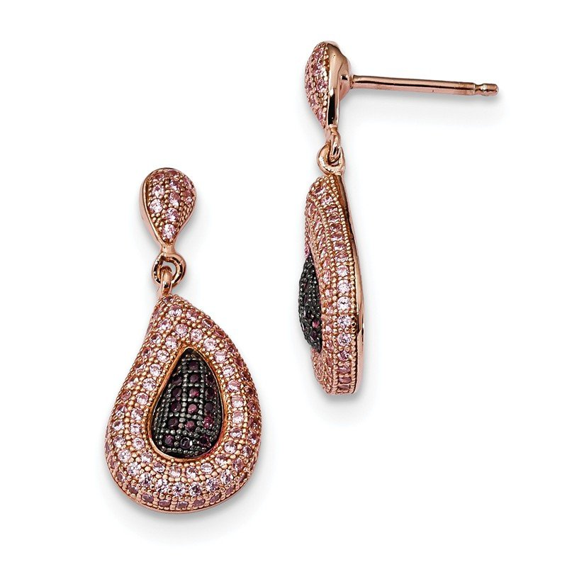 Quality Gold Sterling Silver Rose Gold-plated CZ Brilliant Embers Dangle Post Earrings