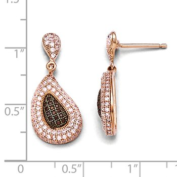 Sterling Silver Rose Gold-plated CZ Brilliant Embers Dangle Post Earrings