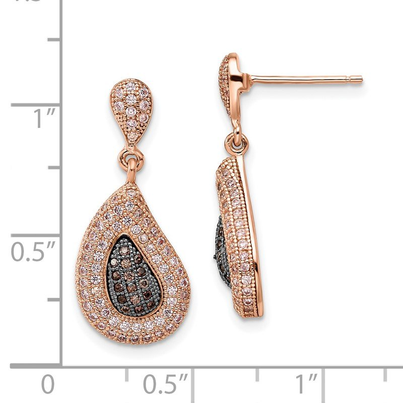 Quality Gold SS Rose Gold-plated CZ Brilliant Embers Dangle Post Earrings