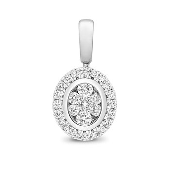 Diamond Cluster Pendant Oval