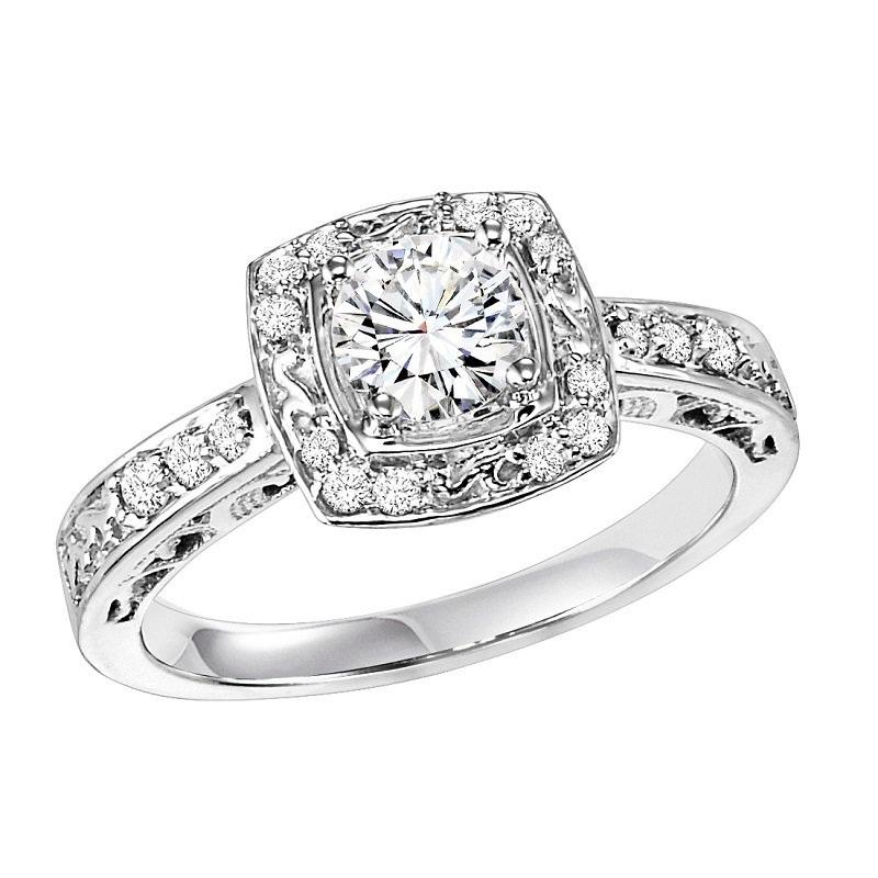14K Diamond Engagement Ring 1/4 ctw with 1/2 ct Center