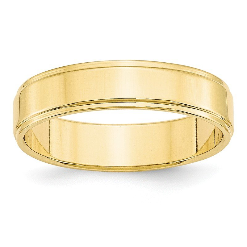 Quality Gold 10KY 5mm Flat with Step Edge Band Size 10