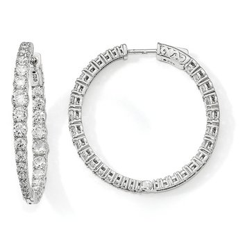 Sterling Silver Rhodium-plated Graduated CZ In & Out Round Hoop Earrings