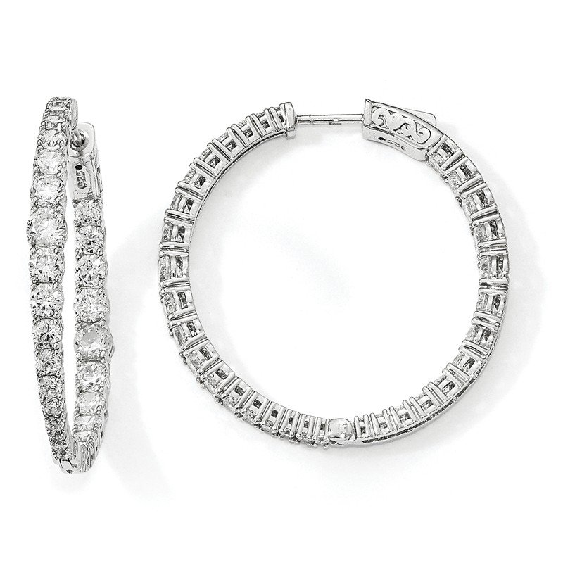 J.F. Kruse Signature Collection Sterling Silver Rhodium-plated Graduated CZ In & Out Round Hoop Earrings