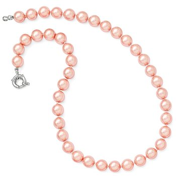 Sterling Silver Majestik Rh-pl 10-11mm Pink Imitation Shell Pearl Necklace