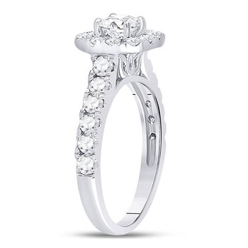 14kt White Gold Womens Round Diamond Solitaire Bridal Wedding Engagement Ring 1-1/2 Cttw