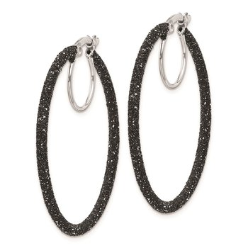 Sterling Silver Rhodium/Black Glitter Enamel 2x35mm Hoop Earrings