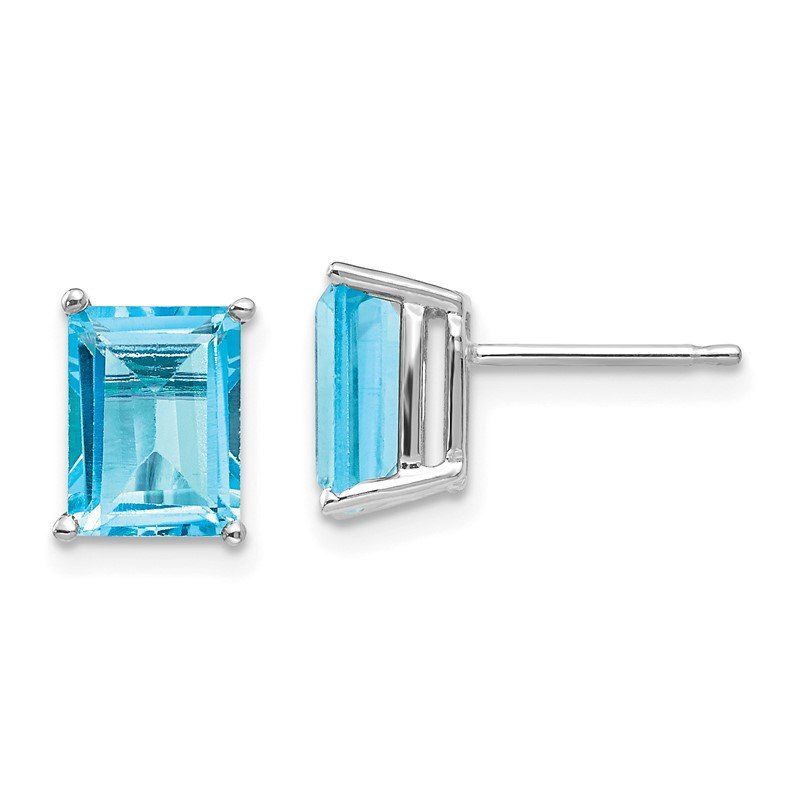 Quality Gold 14k White Gold 8x6mm Emerald Cut Blue Topaz Earrings