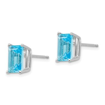 14k White Gold 8x6mm Emerald Cut Blue Topaz Earrings