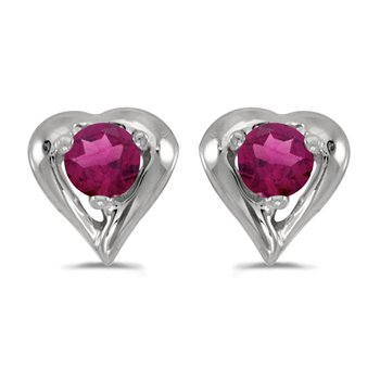 10k White Gold Round Rhodolite Garnet Heart Earrings