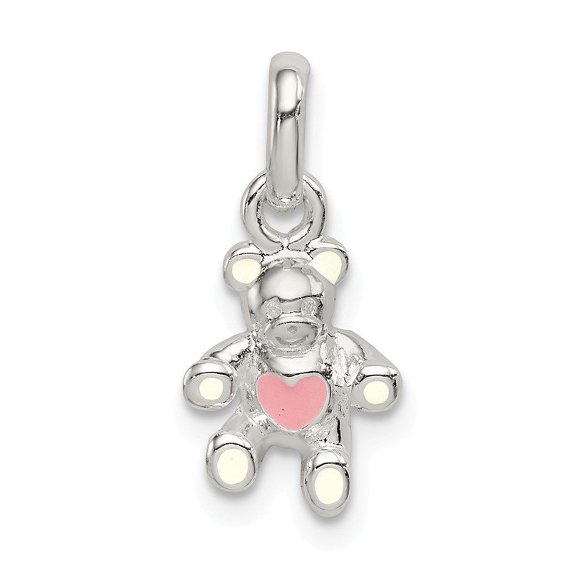 Quality Gold Sterling Silver Cream and Pink Enamel Teddy Bear Kid's Pendant