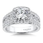 Valina Bridals Cushion Halo Engagement Ring in 14K White Gold (1.61 ct. tw.)