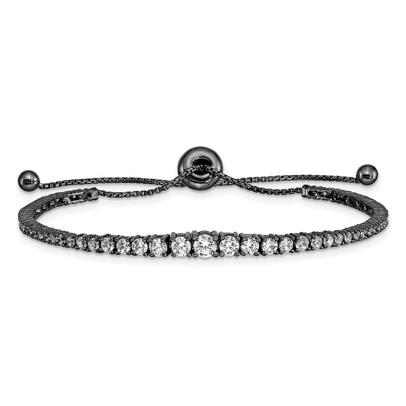 Quality Gold Ruthenium-plated Sterling Silver CZ 5-9in Adjustable Bracelet