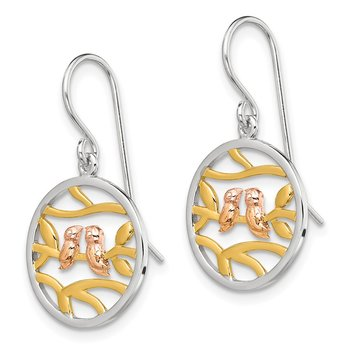 Sterling Silver Rhodium Rose-/Gold-tone Birds on Branches Earrings