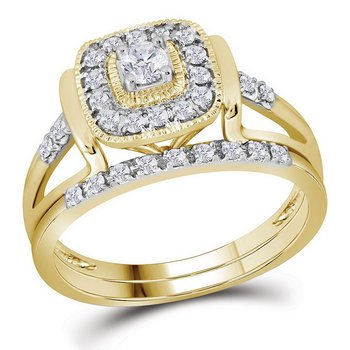 10kt Yellow Gold Womens Round Diamond Square Bridal Wedding Engagement Ring Band Set 1/3 Cttw