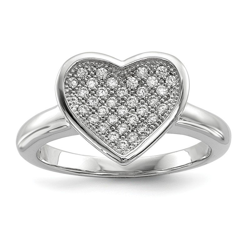 Quality Gold Sterling Silver Brilliant Embers Rhodium-plated CZ Heart Ring