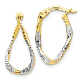 Leslie's 10k w/White Rhodium Polished & D/C Oval Hoop Earrings