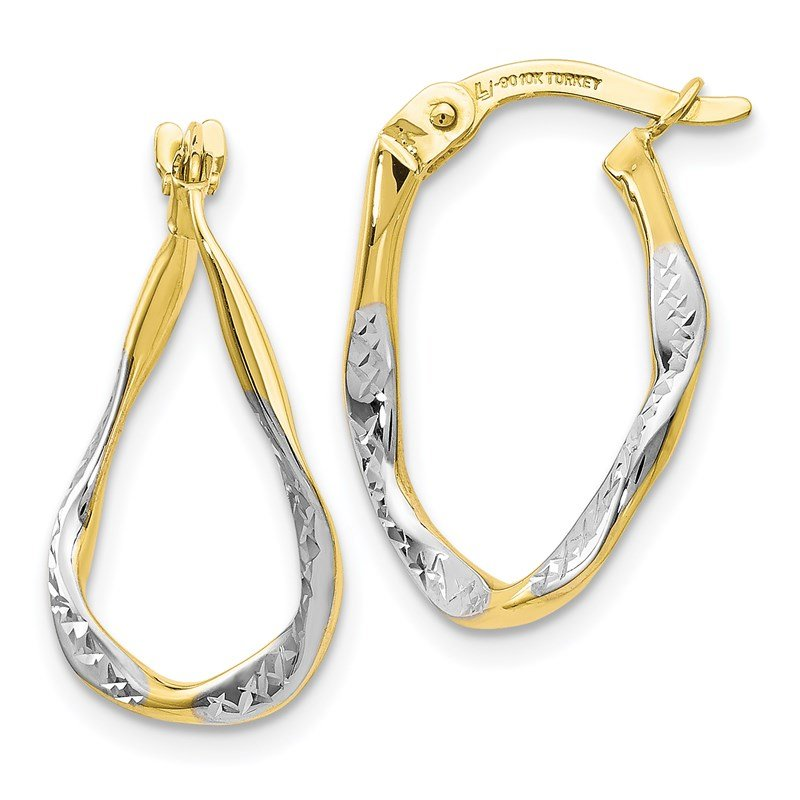 Leslie's Leslie's 10K w/White Rhodium Polished & D/C Oval Hoop Earrings