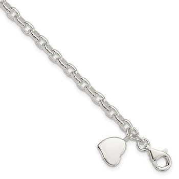 Sterling Silver Oval Rolo with Solid Engraveable Heart Bracelet