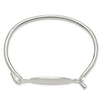 Sterling Silver w/Oval ID Plate Bangle Bracelet