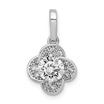 10K Tiara Collection White Gold Polished CZ Pendant