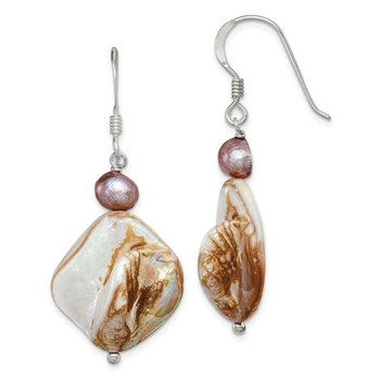 Sterling Silver Mother of Pearl/Light Brown FWC Pearl Earrings