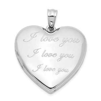 Sterling Silver Rhodium-plated I Love You Ash Holder Heart Locket