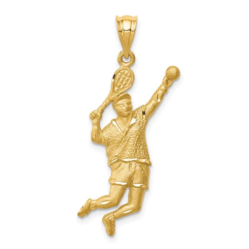 Quality Gold 14K Brushed & D/C Tennis Player Pendant
