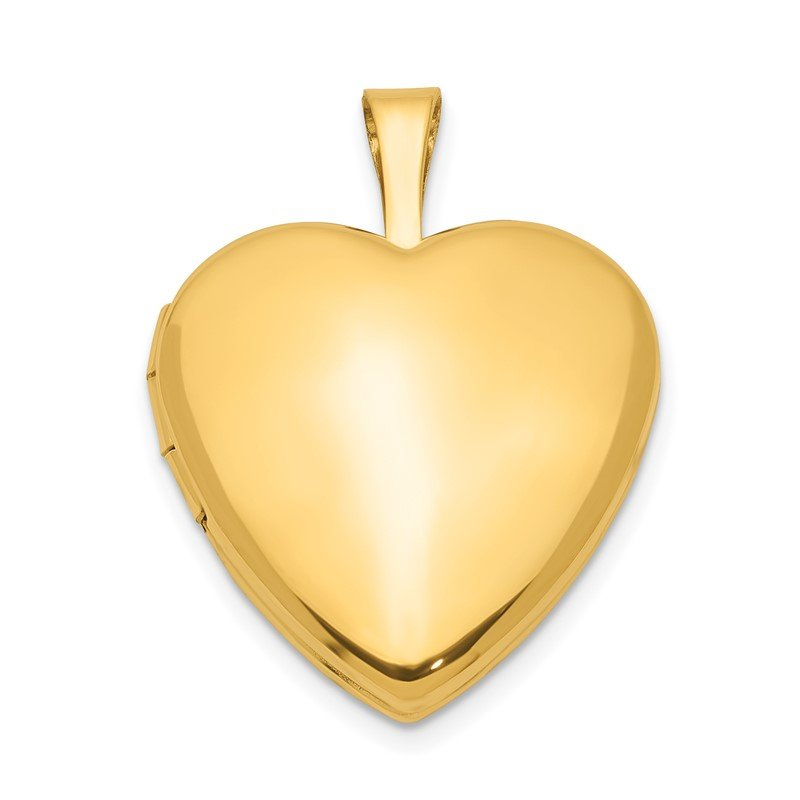 Quality Gold 1/20 Gold Filled Satin and Polished 2-Frame 15mm Heart Locket