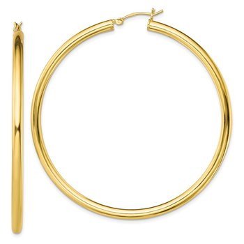 Sterling Silver Gold-Tone Polished 3x60mm Hoop Earrings