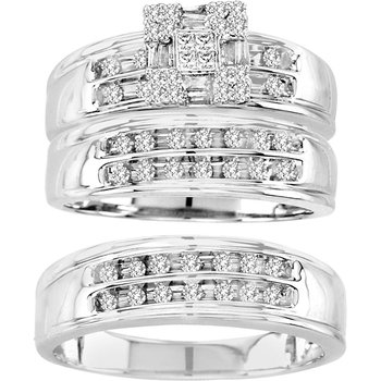 14K  0.65Ct Pr/Ct Dia Trio Set