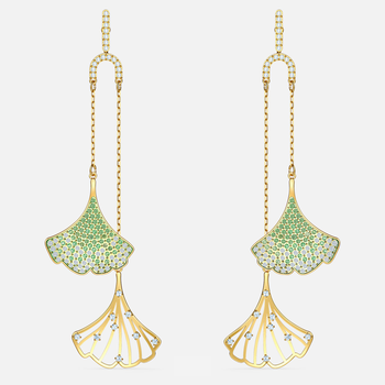 Stunning Ginko Mobile Pierced Earrings, Green, Gold-tone plated