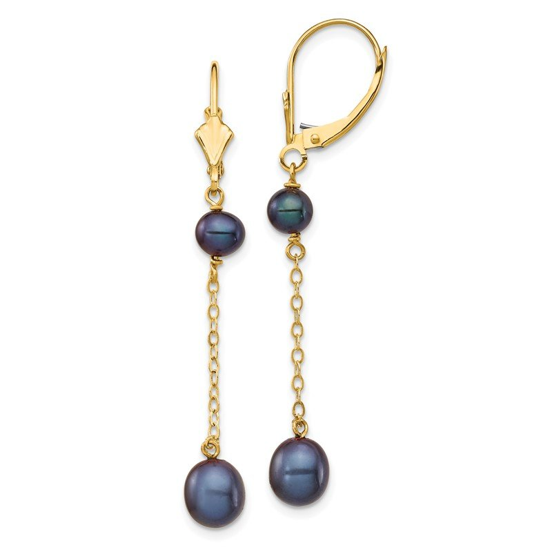 Quality Gold 14K 5-7mm Black Rice Freshwater Cultured Pearl Leverback Earrings