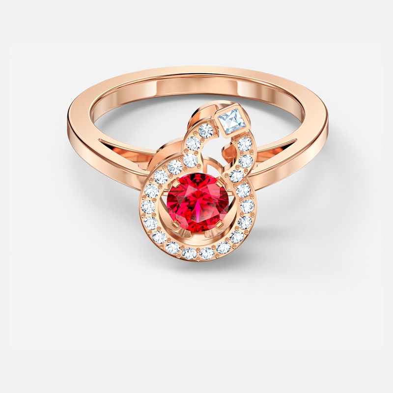 Swarovski Full Blessing Hulu Ring, Red, Rose-gold tone plated