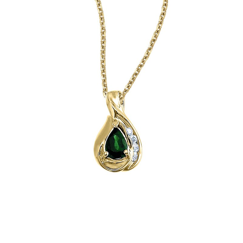 Color Merchants 14k Yellow Gold Pear Emerald and Diamond Pendant