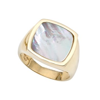14K Gold Mother of Pearl Square Signet Ring
