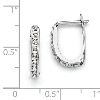 Sterling Silver Platinum-plated Diamond Mystique Oval Hoop Earrings