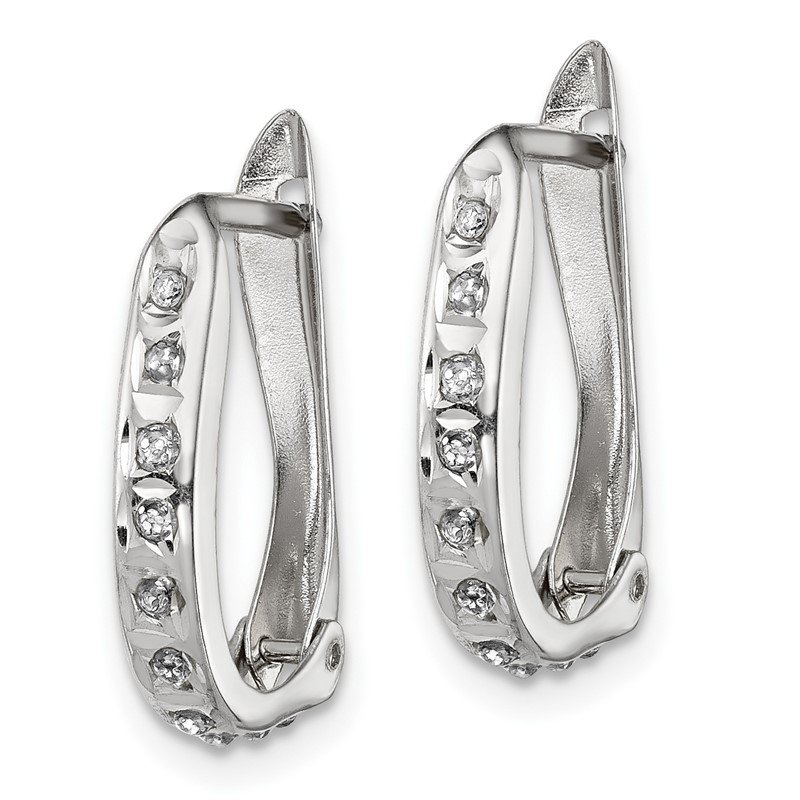 Quality Gold Sterling Silver Platinum-plated Diamond Mystique Oval Hoop Earrings