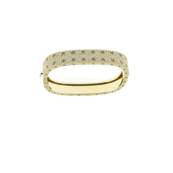 18KT GOLD 2 ROW PAVE DIAMOND BANGLE