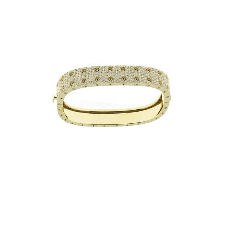Roberto Coin 18KT GOLD 2 ROW PAVE DIAMOND BANGLE