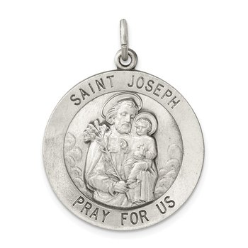 Sterling Silver Antiqued Saint Joseph Medal