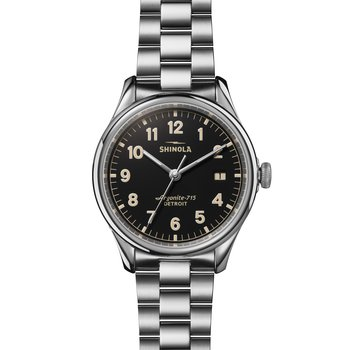 The Vinton 38mm Stainless Black Dial Bracelet Watch
