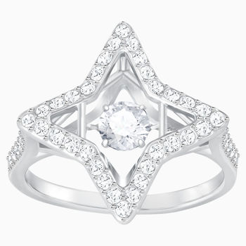 Sparkling Dance Star Ring, White, Rhodium plated