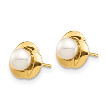 14K Madi K 4-5mm White Button FW Cultured Pearl Post Earrings