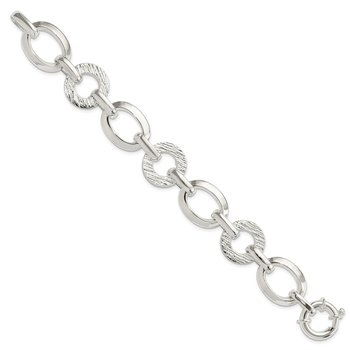 Sterling Silver Polished Ovals And Textured Circles Bracelet